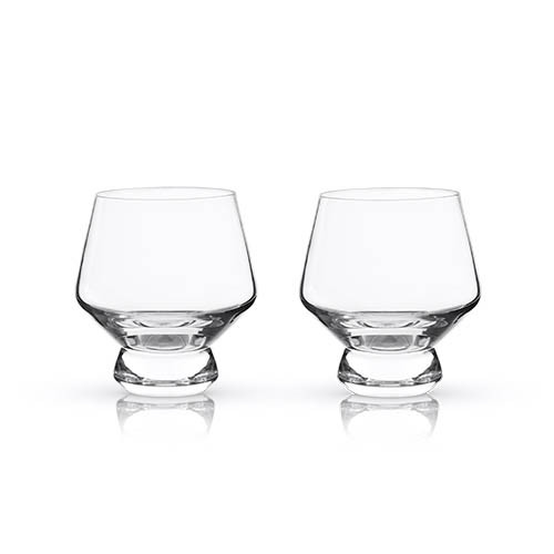 Viski Raye Footed Crystal Punch Cups - 8 oz - Set of 2