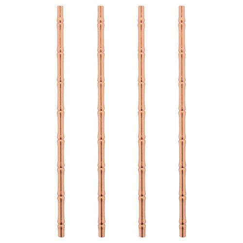 "Viski Pacific Copper Plated Stainless Steel Bamboo Straws - 9.5""L - Set of 4"