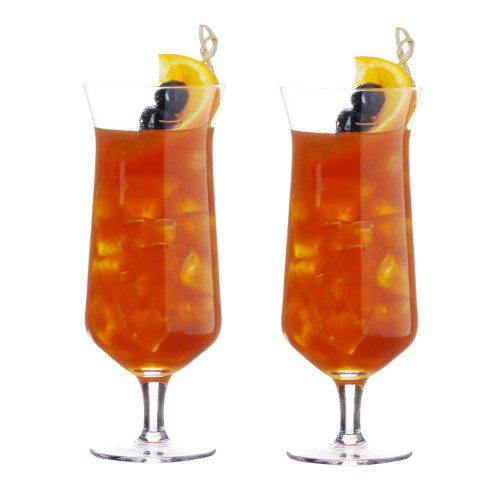 Viski Raye Angled Crystal Footed Hurricane Glasses - 14 oz - Set of 2