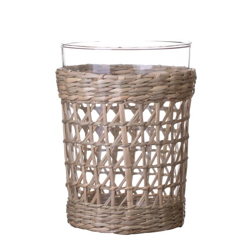Amanda Lindroth Woven Natural Seagrass Wrapped Cooler Glass - 16 oz