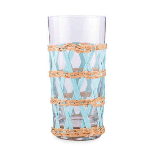 Amanda Lindroth Woven Light Blue Island Raffia Wrapped Cooler Glass - 13.75 oz