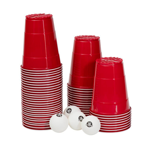"""GoBig Red Party Cups - 36 oz - Sleeve of 50 - Includes 4 Large 2"""" Beer Pong Balls"""