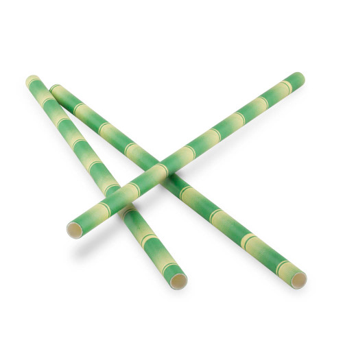 "Green Bamboo Paper Straws - 7.75""L - Pack of 25"