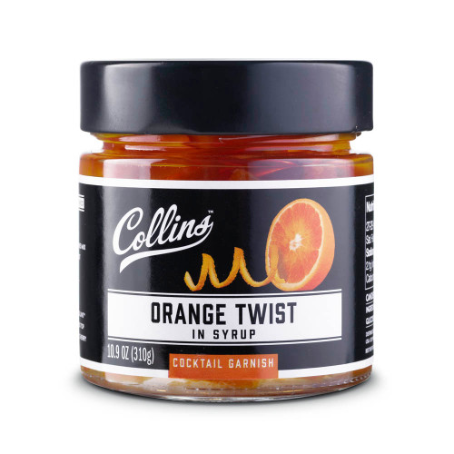 Collins Orange Twists In Syrup Cocktail Garnish - 10.9 oz Jar