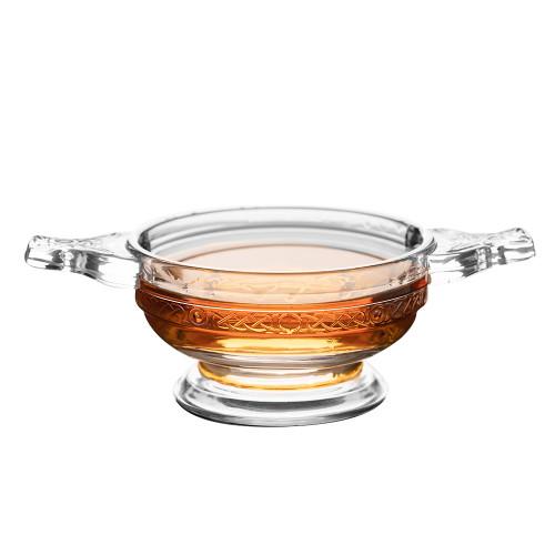 Urban Bar Glass Quaich Bowl - Traditional Scottish Whiskey Drinking Cup - 2.4 oz