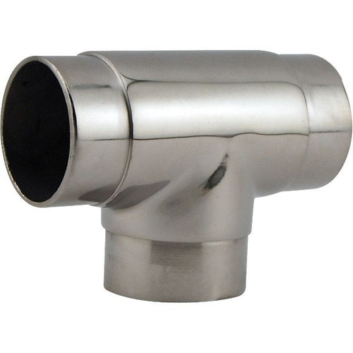 "Flush Tee Hand Rail Fitting - Polished Stainless Steel - 2"" OD"