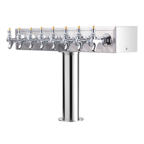 """T"" Style Pedestal Draft Beer Tower - Stainless Steel - 3"" Column - Air Cooled - 8 Faucets"