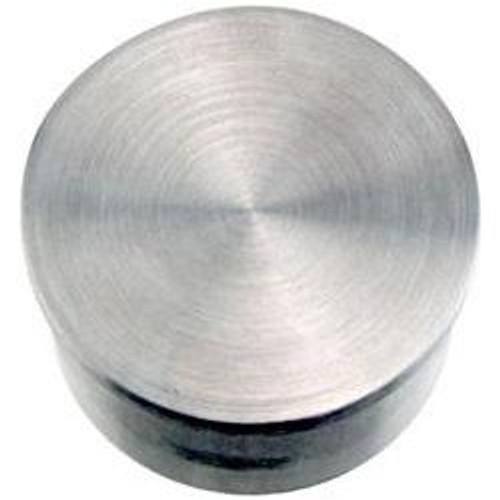 Flush Flat End Cap - Brushed (Satin) Stainless Steel - 1.5-inch OD