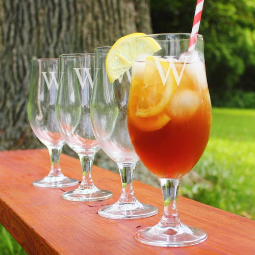 Personalized Stemmed Goblets - 16.5 oz - Set of 4 on Table