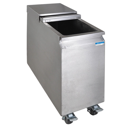 Stainless Steel Mobile Ice Bin on Casters - 53 lbs Ice Capacity
