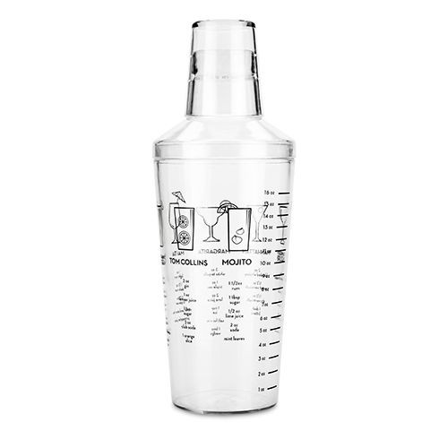 Plastic Recipe Cocktail Shaker - 16 oz