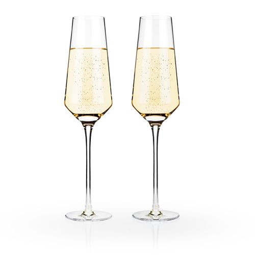 Viski Raye Crystal Champagne Flutes - 8 oz - Set of 2