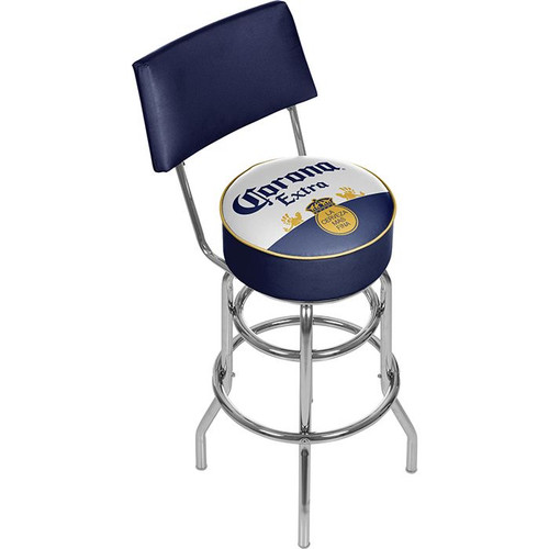Corona Extra Classic Label Padded Chrome Swivel Bar Stool with Back