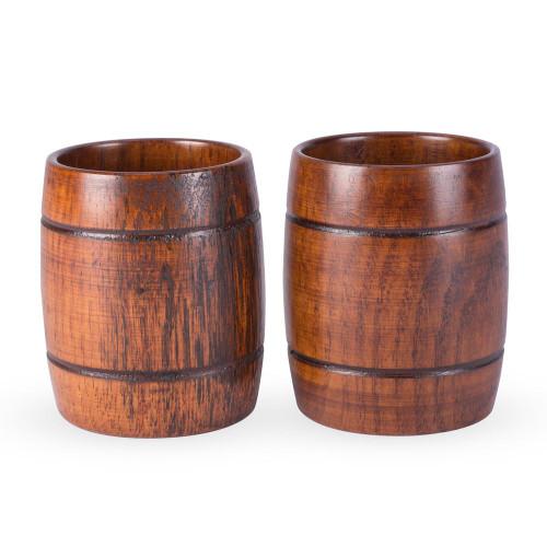 Handmade Wood Barrel Cocktail Tumblers - 12 oz - Set of 2