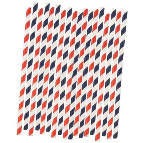 Classic Red & Blue Striped Paper Straws - Biodegradable - Pack of 20