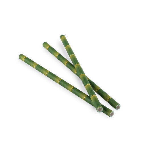 "Aardvark Eco-Friendly Paper Cocktail Straws - Green Bamboo Pattern - 5.75""L - Box of 875 Straws"