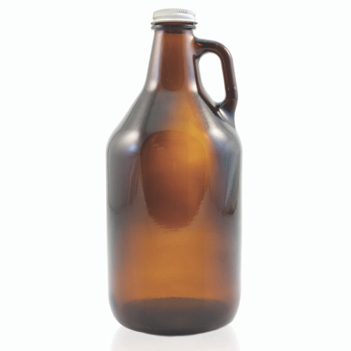Amber Glass Beer Growler - 64 oz - With Cap
