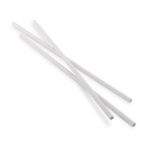 "Aardvark Eco-Flex Bendable Paper Drinking Straws - White - 10""L - Box of 400 Wrapped Straws"