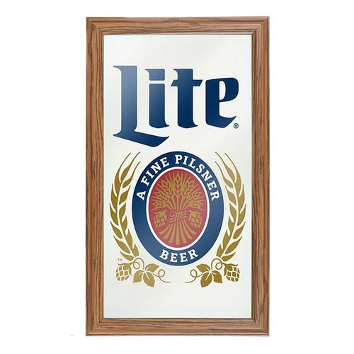 Miller Lite Framed Bar Wall Mirror