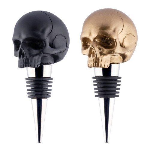 Death By Wine Skull Bottle Stoppers - Black & Gold 2 Pack