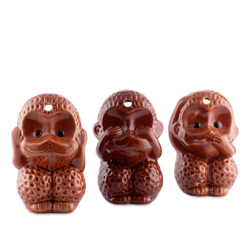 Three Wise Monkeys - Hear, See & Say Ceramic Tiki Mugs - 12 oz - Set of 3