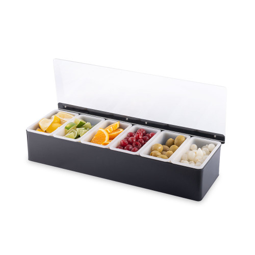 Bar Garnish Tray - Black - 6 Compartments