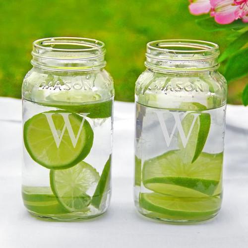 Personalized Mason Drinking Jars - 26 oz - Set of 2