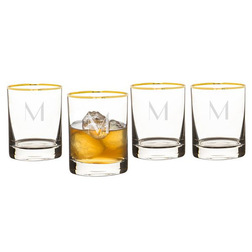 Personalized Gold Rim Whiskey Rocks Glasses - 11 oz - Set of 4