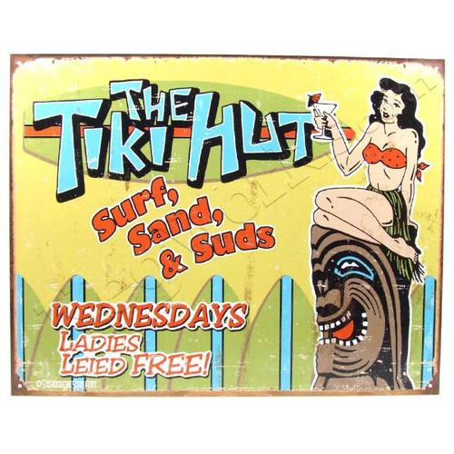Tiki Hut tin bar sign