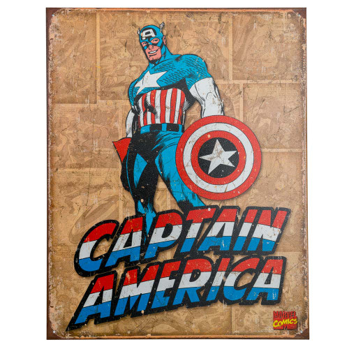 Captain America Retro Metal Bar Sign