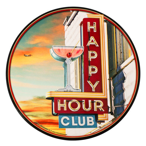 Happy Hour Club Metal Bar Sign