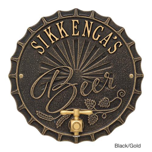 Personalized Bottle Cap Beer Tap Plaque - Black / Gold