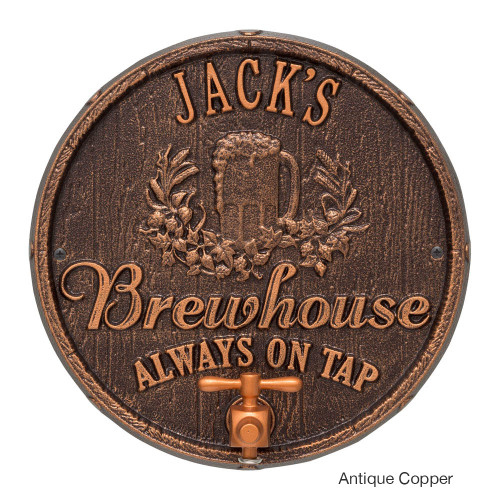 Personalized Oak Barrel Brewhouse Plaque - Antique Copper