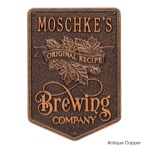 Personalized Brewing Company Plaque - Antique Copper