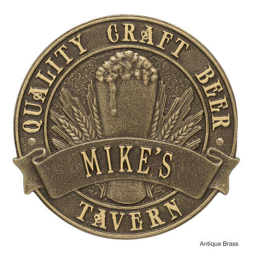 Personalized Craft Beer Tavern Plaque - Antique Brass