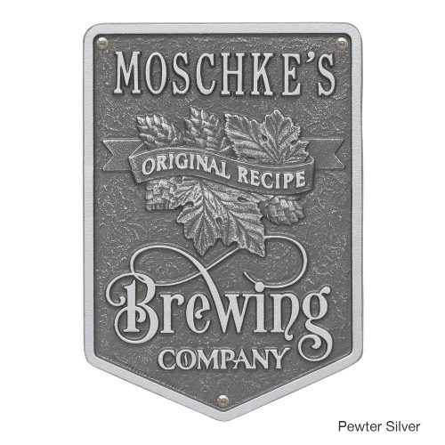 Personalized Brewing Company Plaque - Pewter / Silver