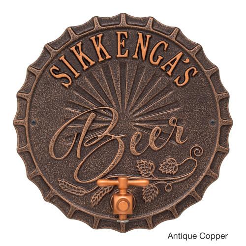 Personalized Bottle Cap Beer Tap Plaque - Antique Copper