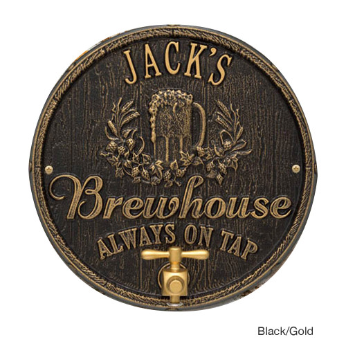 Personalized Oak Barrel Brewhouse Plaque - Black / Gold
