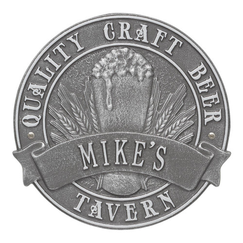 Personalized Craft Beer Tavern Plaque - Pewter / Silver