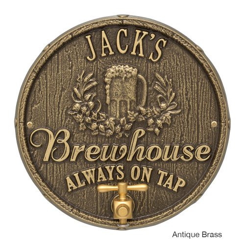 Personalized Oak Barrel Brewhouse Plaque - Antique Brass