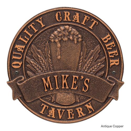 Personalized Craft Beer Tavern Plaque - Antique Copper