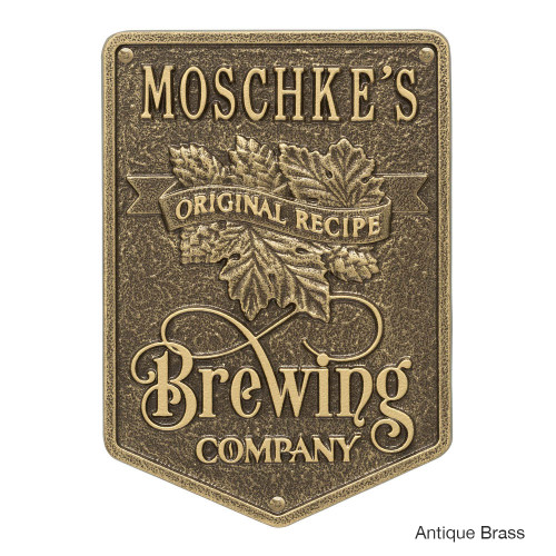 Personalized Brewing Company Plaque - Antique Brass