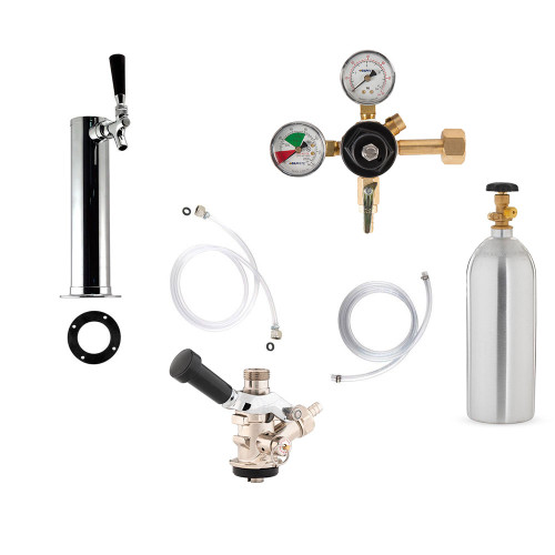 1 Faucet Tower Kegerator Conversion Kit - Chrome Tower - European Sankey S System - 5lb CO2 Tank