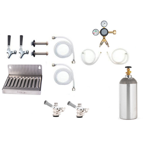 Deluxe Kegerator Conversion Kit - 2 Faucets - US Sankey D System - 10lb CO2 Tank