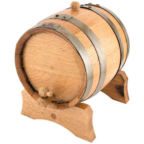 Oak Beverage Dispensing Barrel with Galvanized Steel Bands Finish