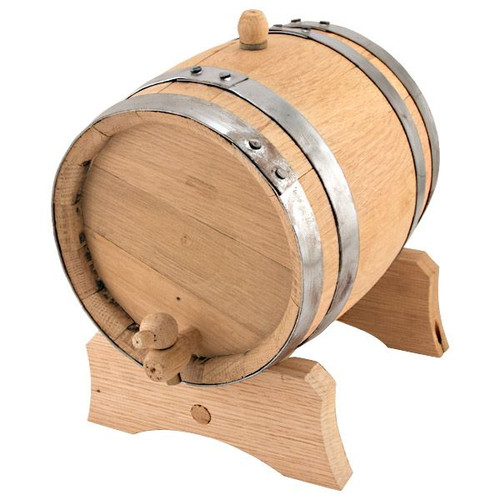 Oak Dispensing Barrel with Galvanized Steel Bands - Unfinished - 1 Gallon