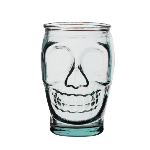 Primitive Skull Handblown Recycled Glass Tumbler - 16 oz