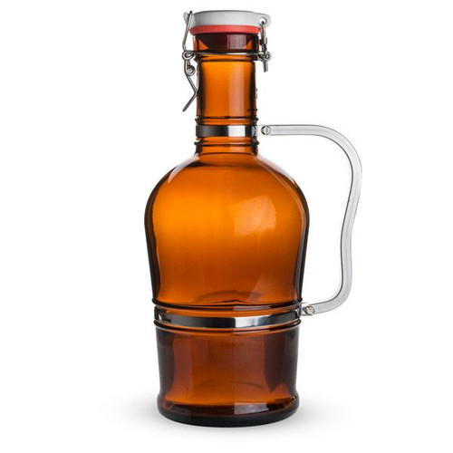 Swing Top Amber Beer Growler with Stainless Steel Handle - 2 Liters