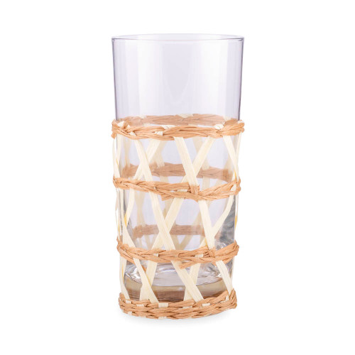 Amanda Lindroth Woven White Island Raffia Wrapped Cooler Glass - 13.75 oz