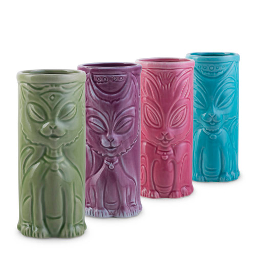 Cat Tiki Mug Party Pack - 8 oz - Set of 4 Ceramic Tiki Mugs